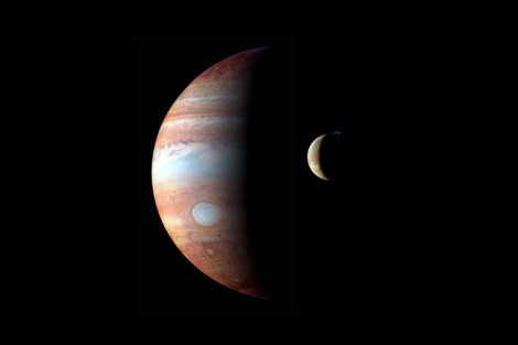 Montage of Jupiter images taken by the New Horizons spacecraft in 2007