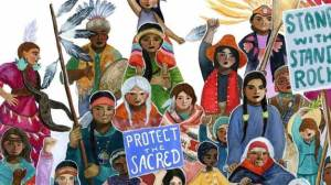 """We Are Water Protectors,"" illustrated by Caldecott Medal winner Michaela Goade and written by Carole Lindstrom, was inspired by Indigenous-led movements across North America, including the protests led by the Standing Rock Sioux against the Dakota Access Pipeline. (Photo courtesy of Michaela Goade)"