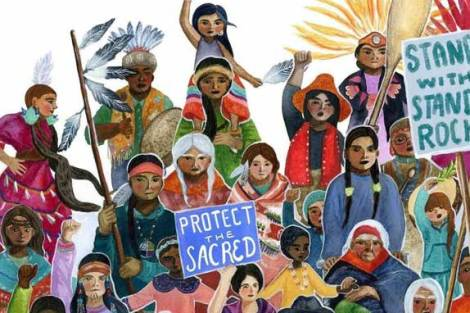"""""""We Are Water Protectors,"""" illustrated by Caldecott Medal winner Michaela Goade and written by Carole Lindstrom, was inspired by Indigenous-led movements across North America, including the protests led by the Standing Rock Sioux against the Dakota Access Pipeline. (Photo courtesy of Michaela Goade)"""
