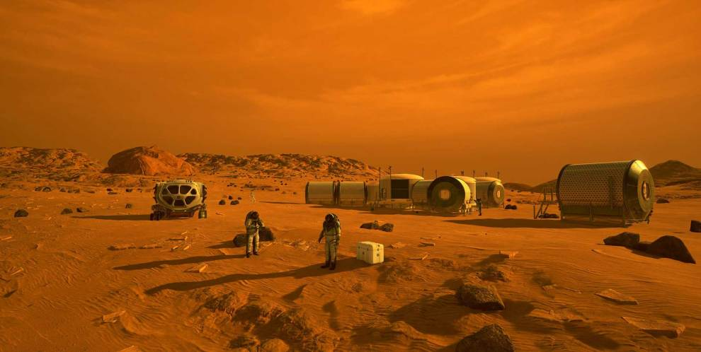 This artist's concept depicts astronauts and human habitats on Mars. But that's years off, after several missions to the moon, NASA spokesperson Cheryl Warner says. (Photo courtesy of NASA)