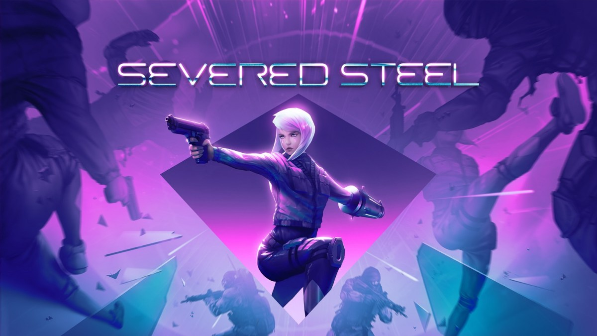 Severed Steel key art of female protagonist Steel with weapons aimed.