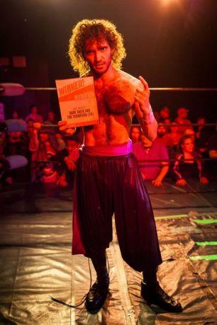Hoodslam wrestler Dark Sheik holds his best athlete in the east bay championship