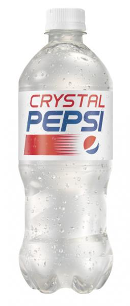 A 500ml bottle of Crystal Pepsi