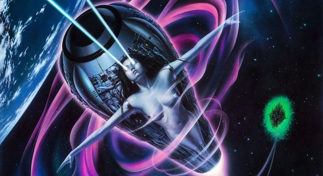 "A portion of the painted Japanese poster for lifeforce which shows the film's antagonist ""Space Girl"" flying through space attached to some sort of rocket pod. She is surrounded by a purple aura and blue lasers shoot out of her eyes"