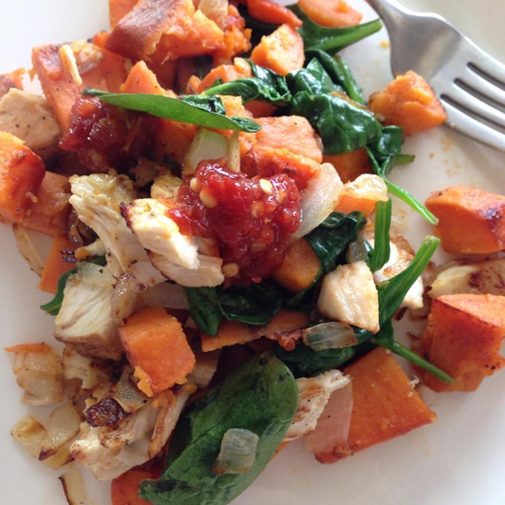 sweetpotatohash with sambalolek for breakfast