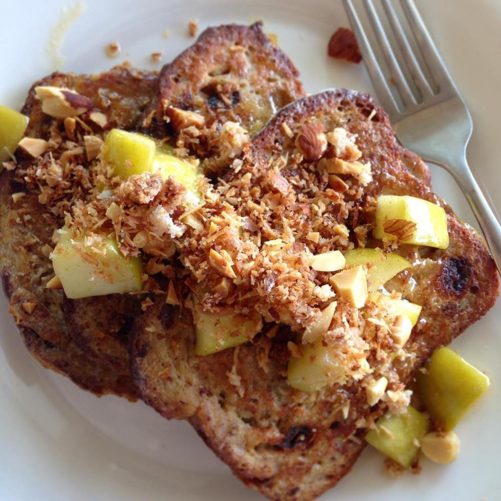 brunch! glutenfree French toast with sauted apples and almond coconuthellip