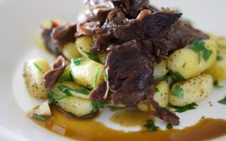 Close up image of gluten free Pot Roast and Herbed Gnocchi