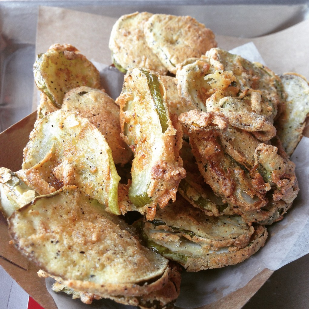 gluten free fried pickles from hat creek in austin