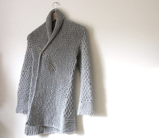 oversized cardigan knitting pattern finished sweater photo