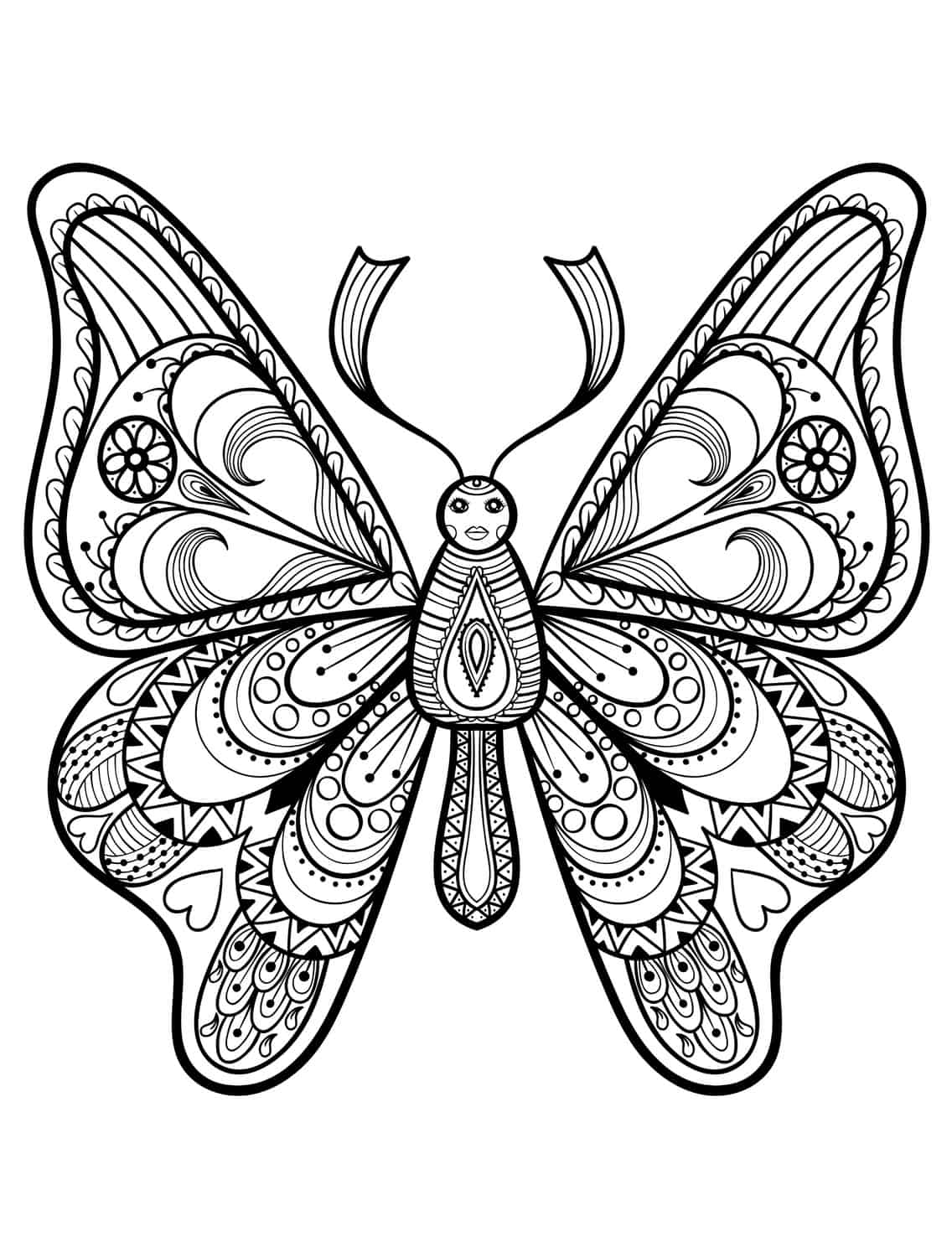 Ausmalbilder erwachsene ausmalbilder for Coloring pages of butterflies for adults
