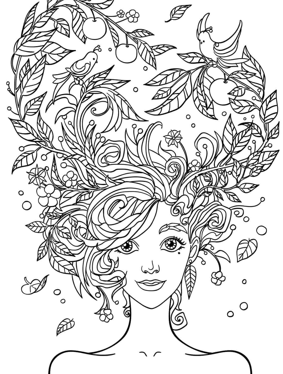 10 Crazy Hair Adult Coloring Pages
