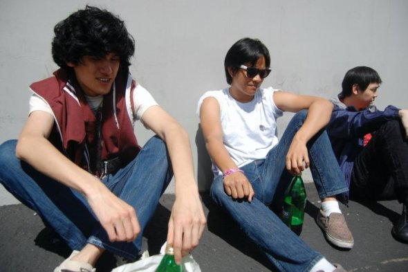 Drinking 40s while waiting for the Capcom Super Street Fighter IV Release party, 2010