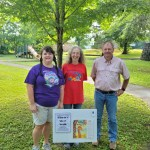 Belmont StoryWalk • Northeast Regional Library Director Dee Hare with Belmont Librarian Andrea Green and Parks Director Brian Lynch