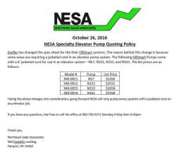 NESA Updated Elevator Pump Policy press release