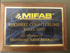 Mifab Highest Counterline Sales Award - 2005