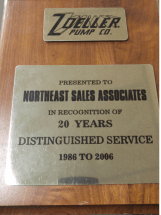 Zoeller 20 Years Distinguished Service Award