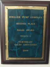 Zoeller Sales Award - Second Place 2009