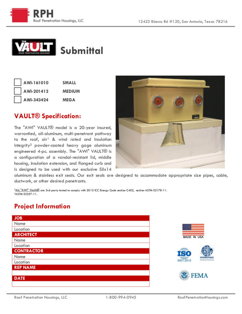 Roof Penetration Housing The Vault AWI Submittal Page 1