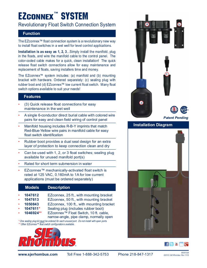 hight resolution of ezconnex float system sell sheet rear