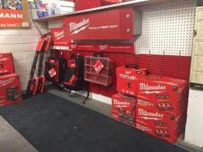 Milwaukee Red Racks with product