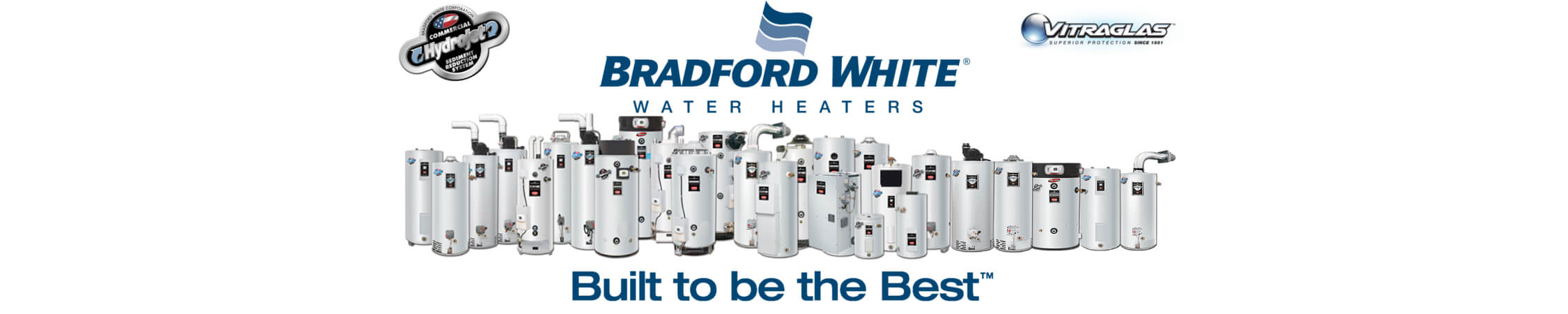 New Bradford White Homepage banner showing all models