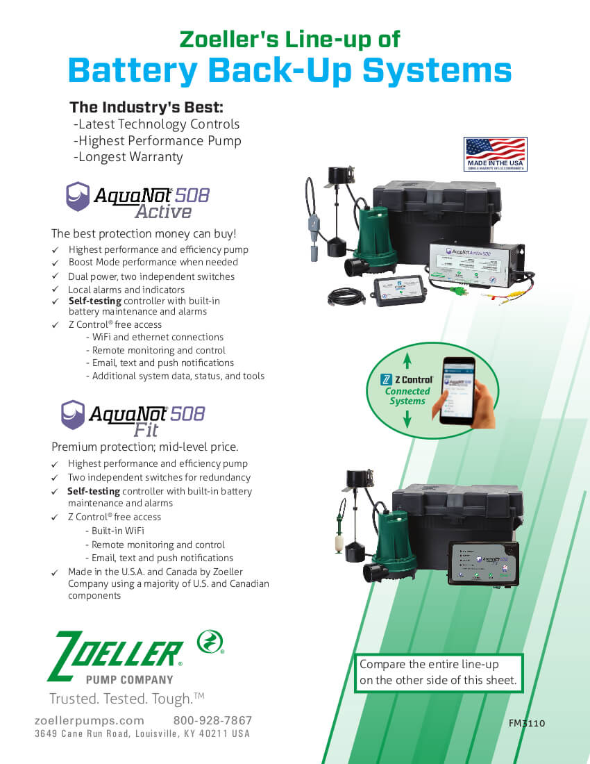 Flyer for Zoeller's Line-Up of Aquanot products