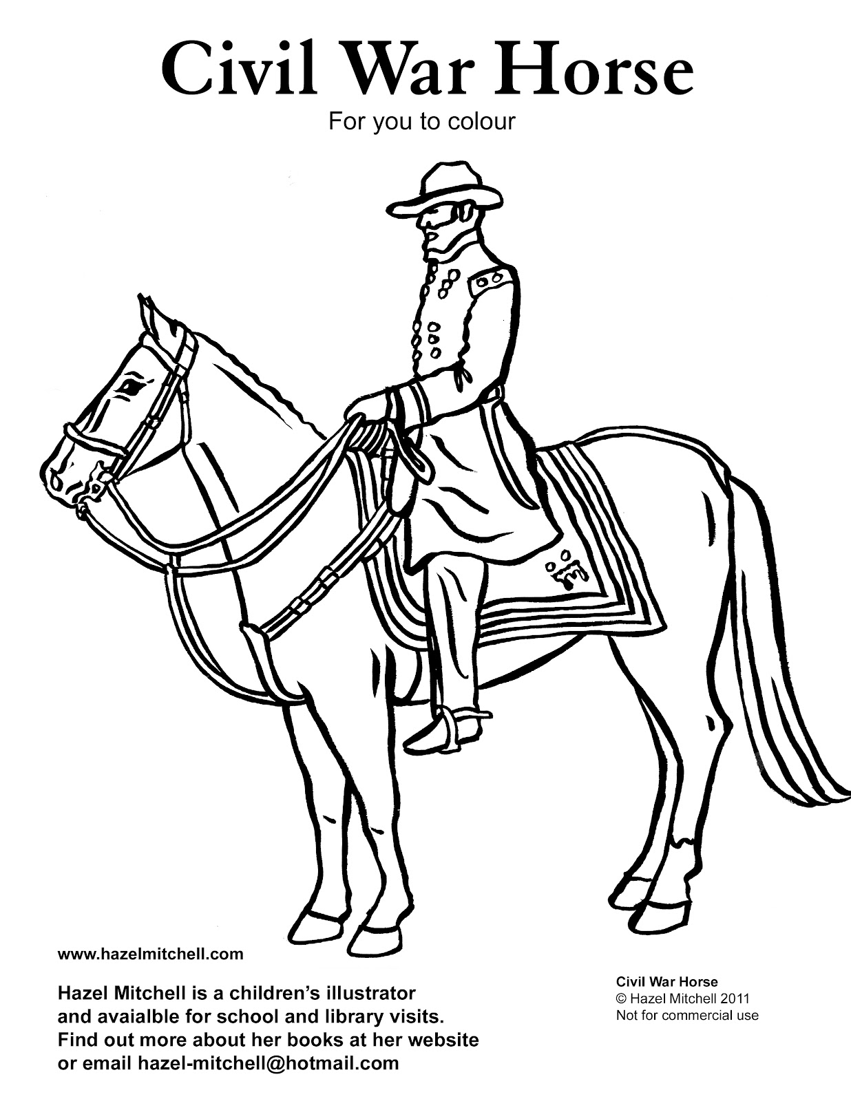 Hazel Mitchell Colouring Page For Kids Civil War Horse