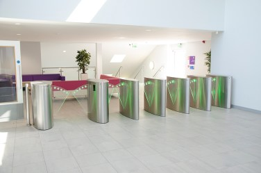 office reception barrier contemporary walkway