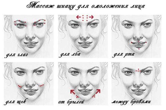 Схема точек массажа Шиацу для лица