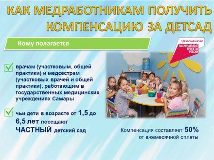 В Самаре медработники могут получить выплаты за детский сад