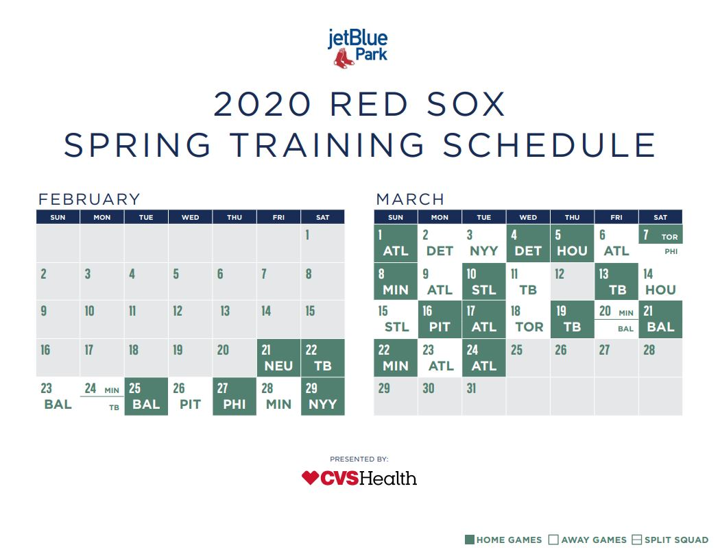 Red Sox Spring Training Schedule Boston Reveals