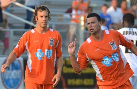 Zack Schilawski celebrates with teammate Nick Zimmerman during a 2-0 win over FC Edmonton earlier this season. (Photo: Carolina RailHawks)