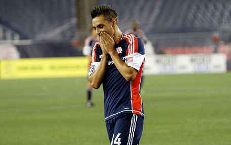 Revolution midfielder Diego Fagundez rues a missed opportunity in the second half of Saturday's 0-0 draw against D.C. United. (Photo: Chris Aduama/aduama.com)