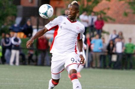 Dimitry Imbongo scored a 54th minute equalizer in Saturday's 2-1 Revolution win over D.C. United. (Photo: Chris Aduama/aduama.com)