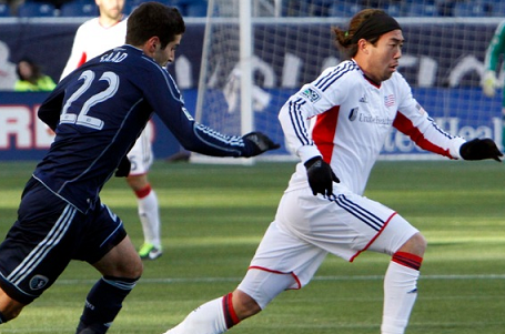 Lee Nguyen completed 85 percent of his passes in Saturday's 3-0 loss at Sporting Park. (Photo: Chris Aduama/aduama.com)