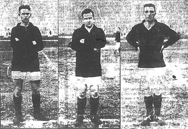 (L-R) A. Bushnell, right halfback, Peter Purdell, inside right forward, and Captain William Ross, right fullback (Photo credit: Fall River Daily Globe)