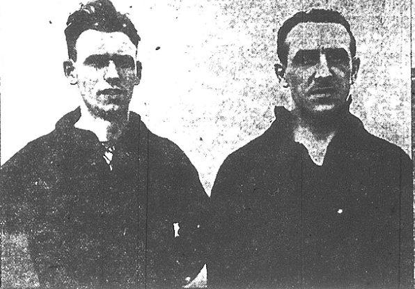 L-R Alex Carrie, center forward and Robert Blyth, outside right forward (Photo credit: Fall River Daily Globe)