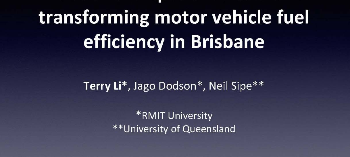 Social and spatial effects of transforming motor vehicle fuel efficiency in Brisbane