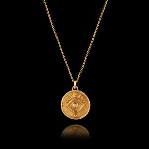 Μενταγιόν Μάτι σε Χρυσό με Διαμάντι