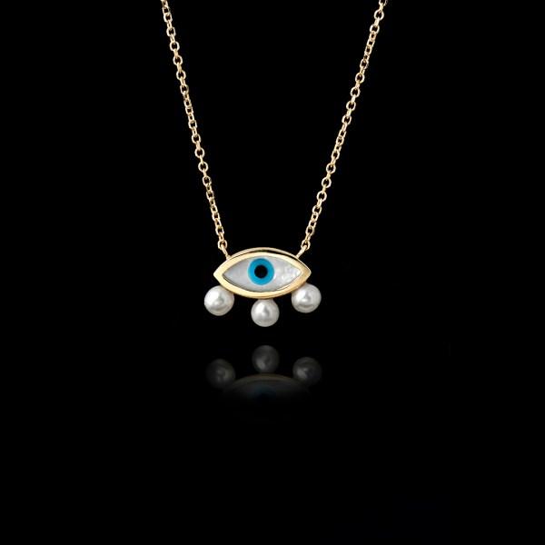 Μενταγιόν Μάτι σε Χρυσό με Μαργαριτάρια - ME171N