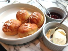 Freshly baked scones with Jam Lady Jam and clotted cream