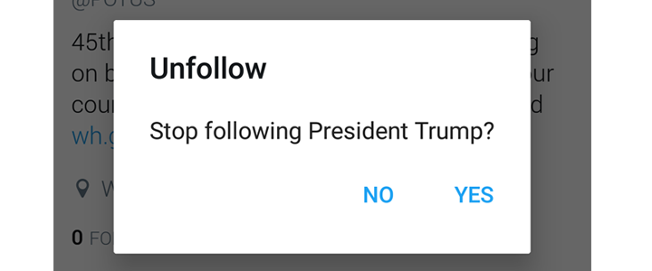 Stop following President Trump - nessymon