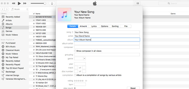 Metadata in iTunes