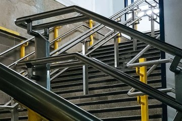 Metal railings and steps at Moorgate station