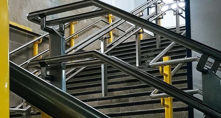Metal railings and steps at Moorgate station