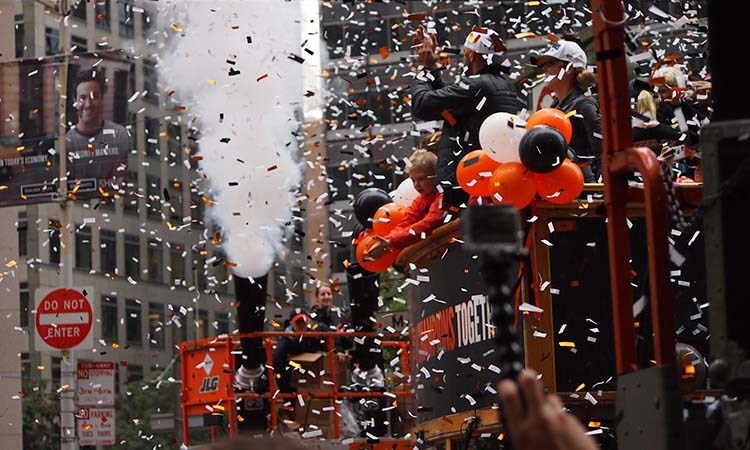 Shot of celebration parade in downtown San Francisco when the Giants won the World Series