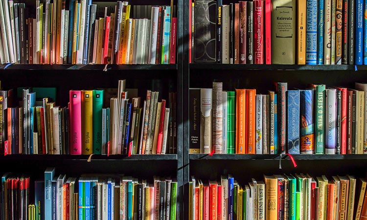 Bookshelf filled with different coloured covers
