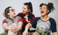 Cherym promo shot - three girls laughing - background is grey. Taken by ycontrolphotography.com