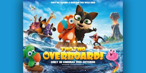 Two by Two Overboard! Movie Poster on a Blue background