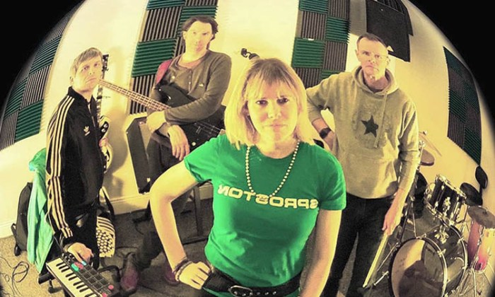 Studio photo of the band Keeley using a fisheye lens